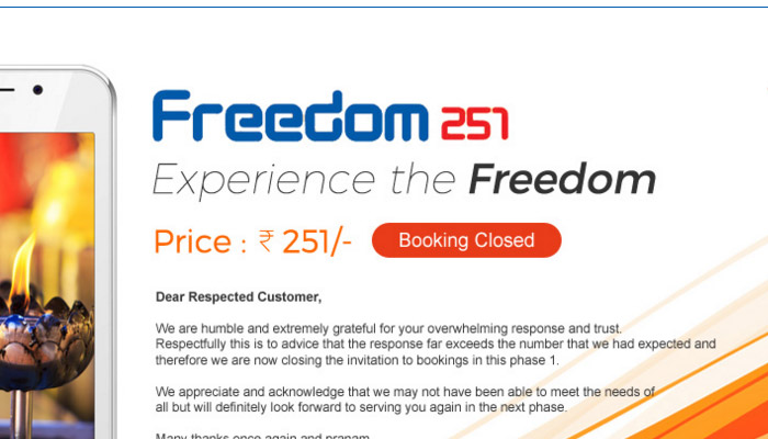 Freedom 251 Online Booking Registrations Closed Today