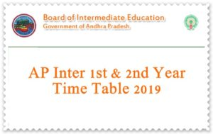 AP Inter 1st & 2nd Year Time Tables 2019