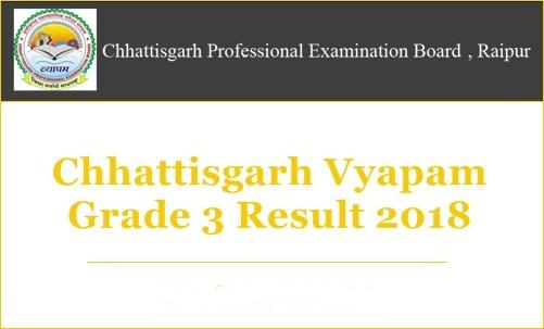 Chhattisgarh Vyapam Assistant Grade 3 Result 2018