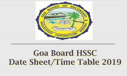 Goa Board HSSC Date Sheet / Time Table 2019