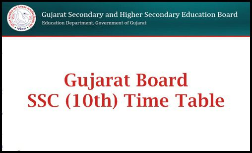 Gujarat SSC Time Table 2019