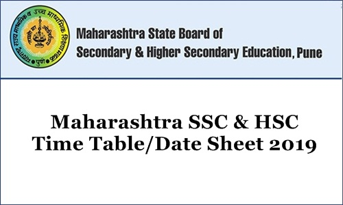 Maharashtra SSC & HSC Time Table Date Sheet 2019