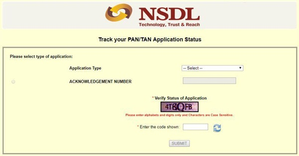 Pan Card Status - Track your Pan card Application Status