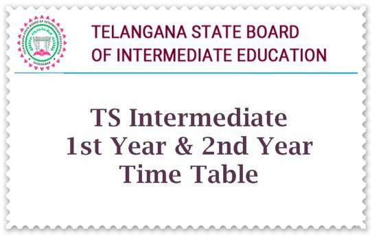 TS Intermediate 1st Year & 2nd Year Time Table 2019