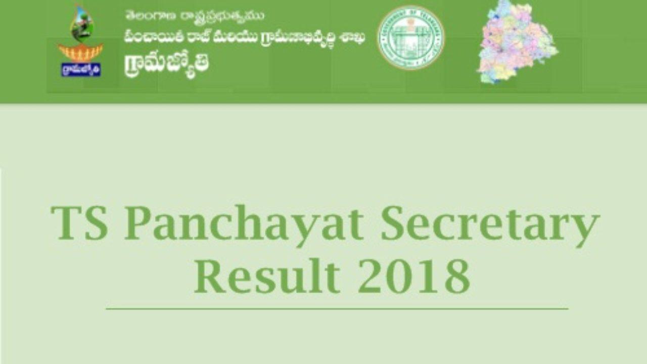TS Junior Panchayat Secretary Results 2018 Released - Cutoff