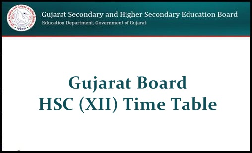 Gujarat HSC Time Table 2019