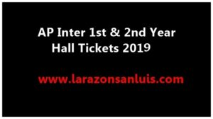 AP Inter 1st Year & 2nd Year Hall Tickets 2019
