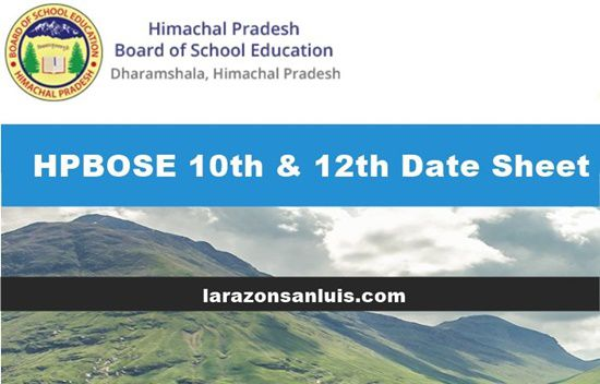 hpbose 10th-12th date sheet 2019