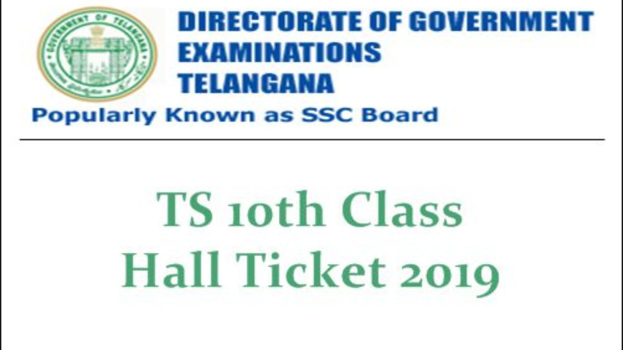 TS 10th Class Hall Tickets 2019 (Released) - Download BSE Telangana