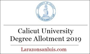 Calicut University Degree Trial Allotment 2019