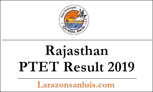 Rajasthan PTET Result 2019