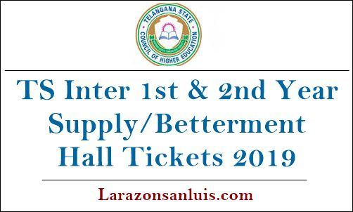 TS Inter 1st & 2nd Year Supply Betterment Hall Tickets 2019