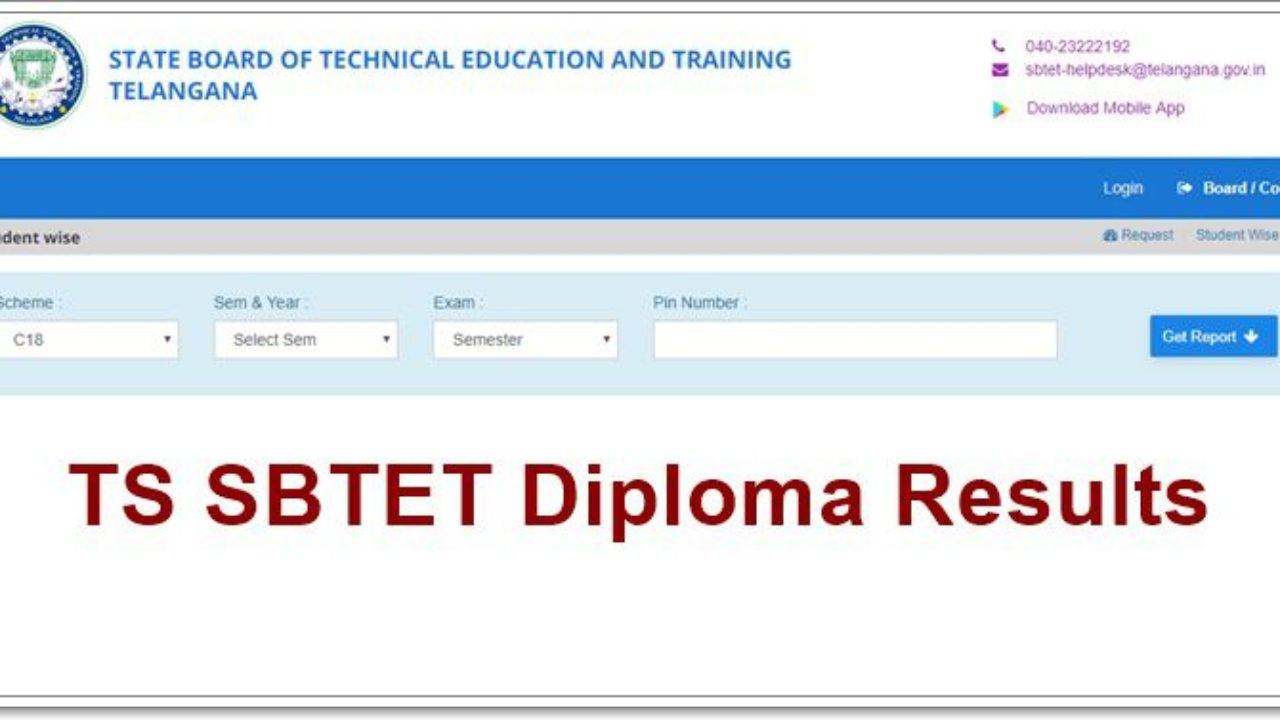 TS SBTET Diploma Results 2019 Manabadi (Declared) For C14,C09,C18