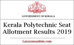 Kerala Polytechnic Seat Allotment Results 2019