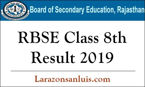 RBSE Class 8th Result 2019
