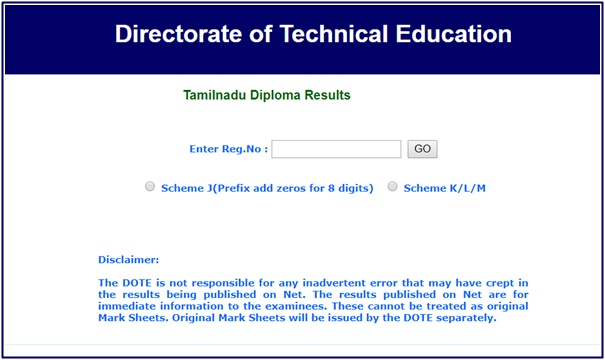 TNDTE Diploma Result 2019