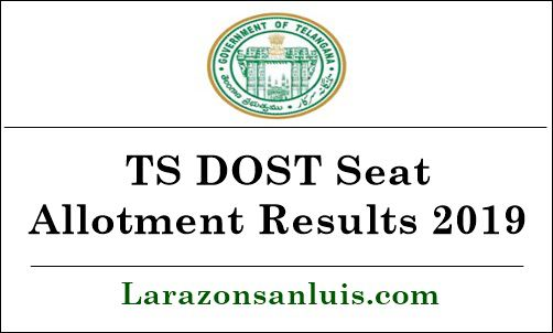 TS DOST Degree Seat Allotment Results 2019