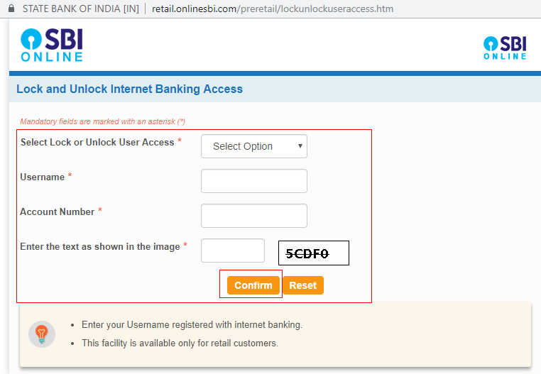 Lock and Unlock Internet Banking Access