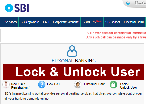 SBI net banking Lock and Unlock