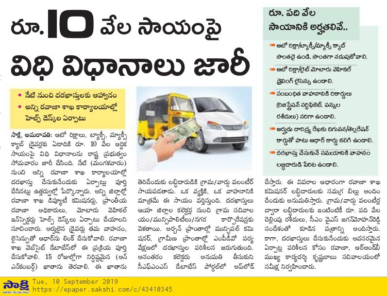 YSR Scheme Rs 10000 for auto-taxi drivers
